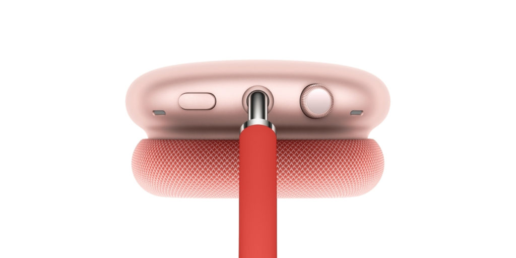 On the AirPods Max, there are only two buttons: a crown that controls volume, and a front toggling button that serves as a switch between transparent mode and noise-canceling mode.