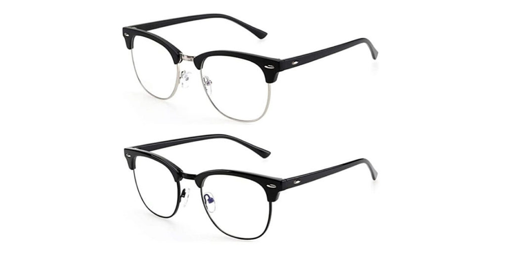 The ANYLUV retro half-rim glasses not only block 45% of blue light, it makes you look cool doing it.