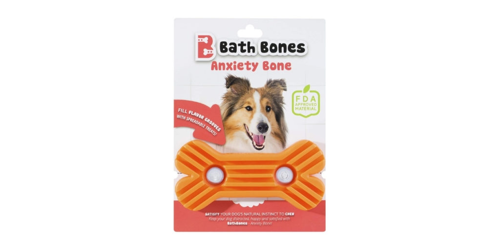 You slap the peanut butter, yogurt, whatever your dog desires, into the bone and let your dog do the rest. The Bath Bone will also make sure your pup does not  consume the substance in one sitting.