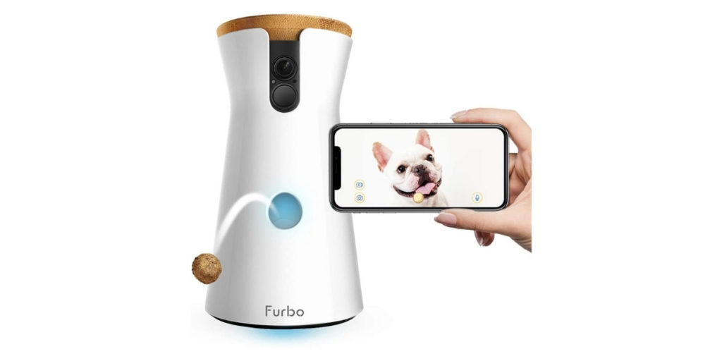 With the Furbo Dog Camera, you can watch your sweet pup any time. You connect the Furbo to an app on your smartphone and it will alert you of activity your dog may be doing- barking, howling, crying, you name it!