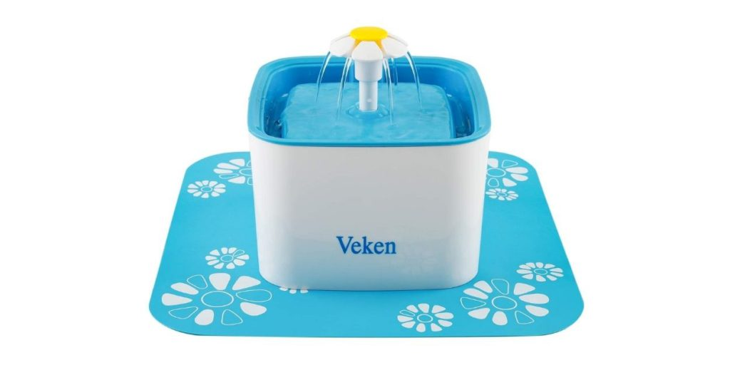 This is the Veken Water Fountain. It dispenses filtered water in the form of a cute little waterfall. This gives your pup the freshest water possible while being silent and discrete.
