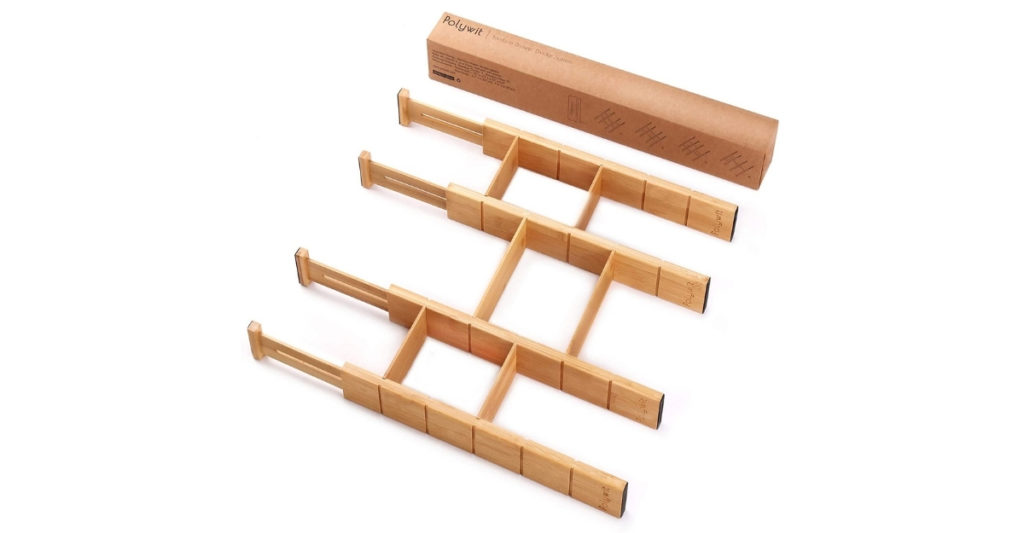 Keep that mess contained between the walls of these bamboo drawer dividers. I used to buy desk containers all the time but sometimes they just wouldn't fit what I wanted to use! With these dividers you have the power to divide your drawers however you wish.