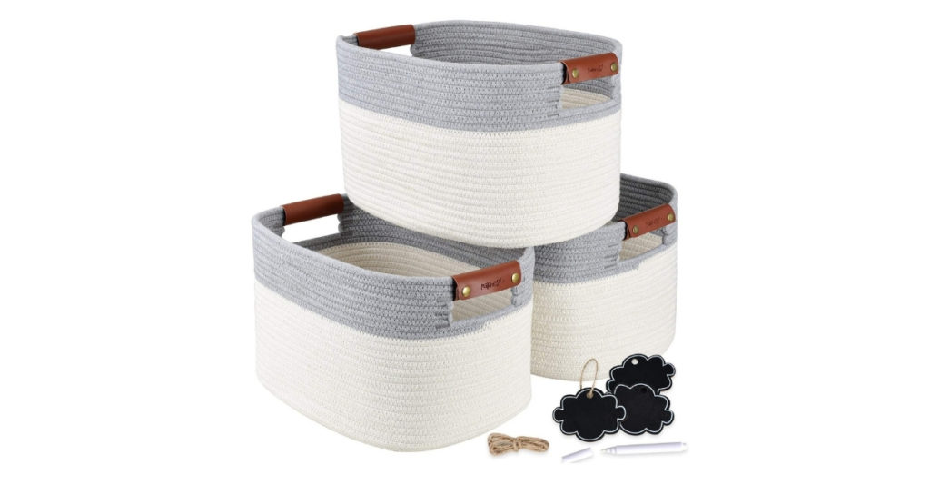 This one is great for storing ANYTHING from clothes and kids' toys to your ever-expanding collection of board games and fancy dumb bells. The leather handles prevent it from breaking apart when carrying and the rope baskets themselves are sturdy yet can still fold up to save space when they're not in use.