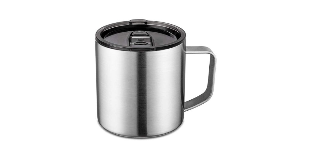 Keep in mind, the temperature of your coffee can fluctuate depending on the material of your mug. I'd go with a flat-bottom mug with thin or insulating walls like this Stainless Steel Coffee Mug.