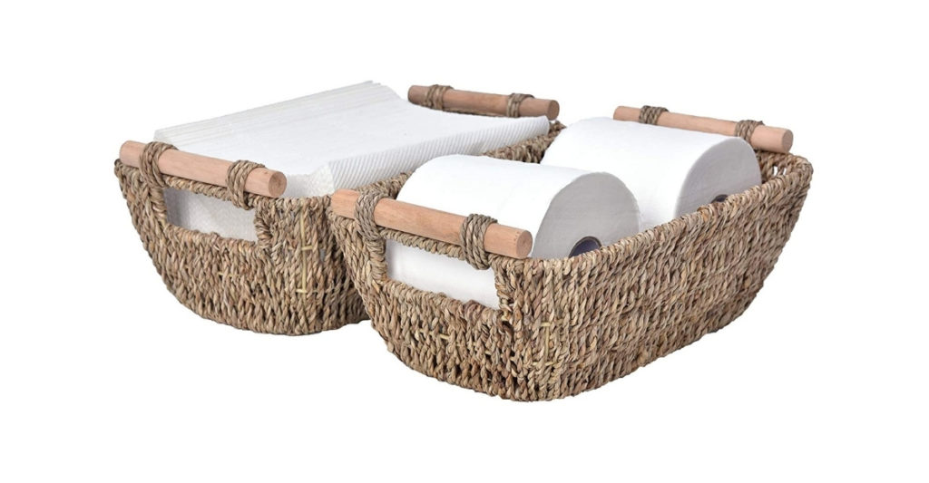 These wicker baskets allow you to store just the right amount at a time. Use the large size to store towels or toilet paper. Use the smaller sizes to store your self-care products, cream, lotion, makeup upright and organized.
