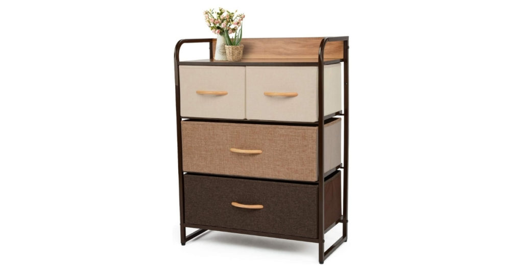 This YOUNIS dresser can be used not only for your closet, but also for storing toys, electronics, and even double as a mobile pantry. The modern minimalist design makes it suitable for pretty much any kind of storage while the fabric bin drawers make it easy to open and close.