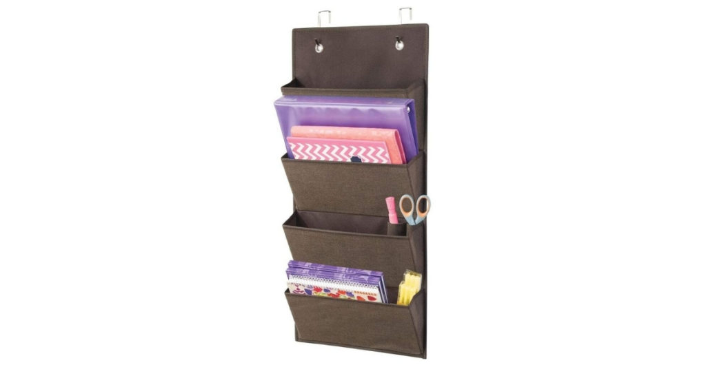 This fabric hanging storage allows you to store papers upright and separate them by importance. I chose this 4 pocket one following The Eisenhower Box.