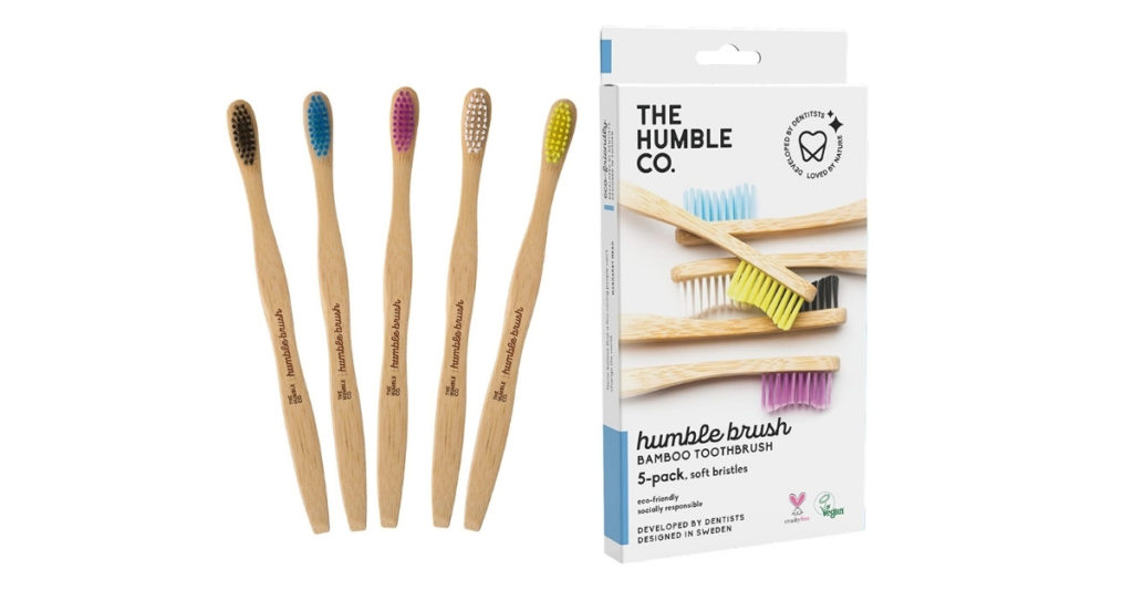 The toothbrush handle is made with 100% biodegradable bamboo while the bristles are BPA free Nylon 6, meaning once you finish using it, you can detach the bamboo handle from the bristles and compost them in your garden! Bamboo is a eco-friendly darling to us eco-folks and the giving tree continues to give.