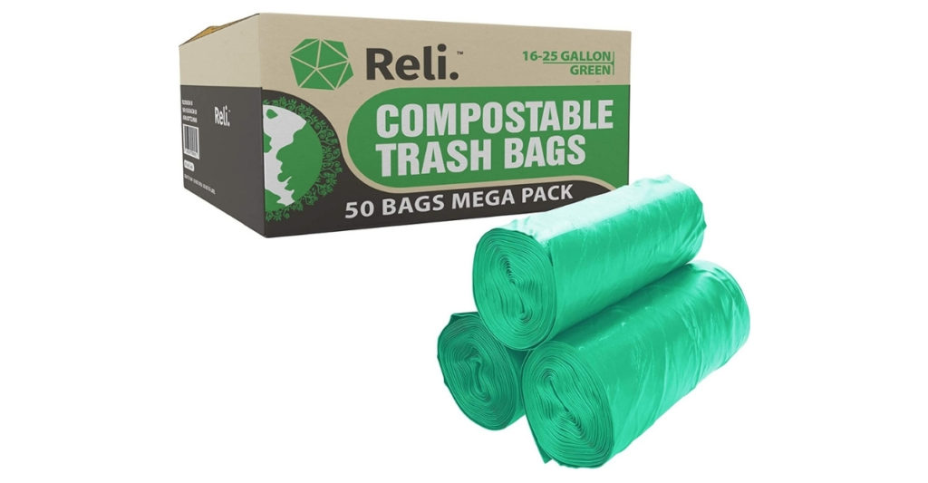 Reli trash bags are made of a unique plant starch blend that makes it strong and also 100% compostable and eco friendly. Literally, if you leave them out in the heat, they will start decomposing.
