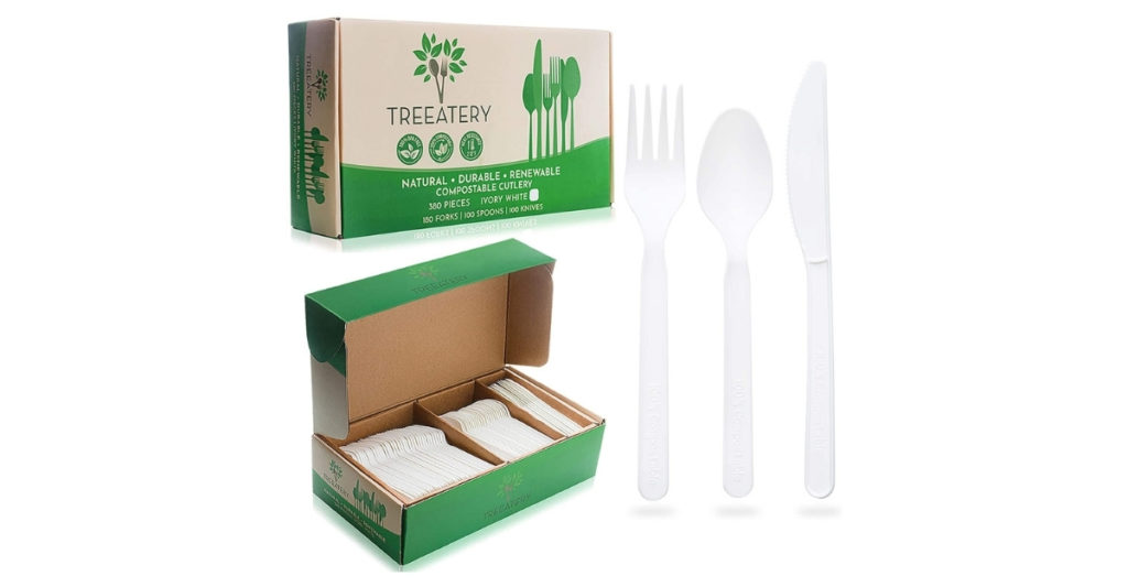 The TREEATERY cutlery set is made of all-natural corn, meaning you can go ahead and eat, enjoy, then compost! It's so durable you can even run it through the dishwasher. Why I love this brand even more?