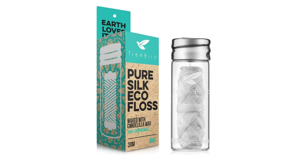The waxed nylon and plastic box from most dental floss brands will take 50-80 years to decompose! Made from silk, this eco-friendly dental floss is biodegradable and comes with a refillable glass container.