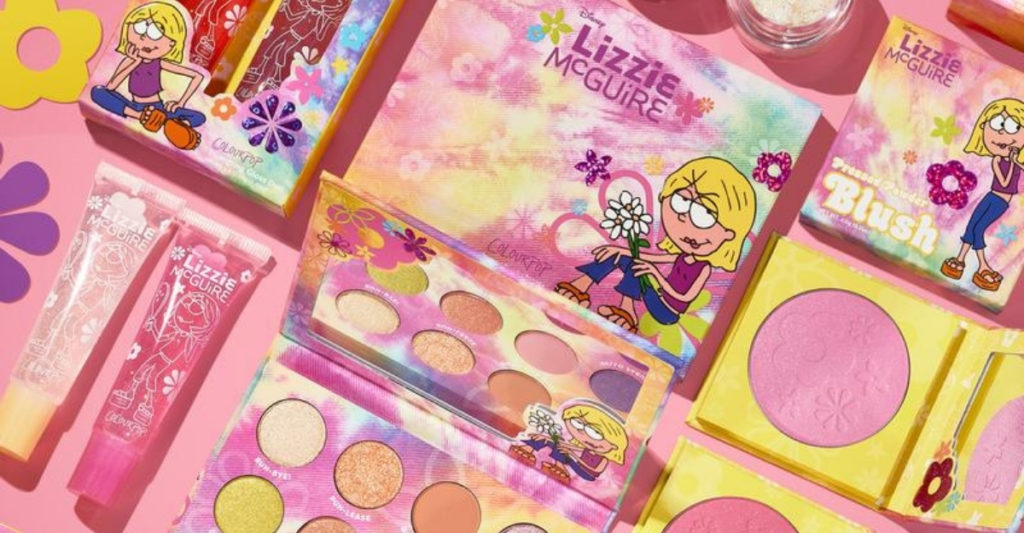 ColourPop recently debuted their cruelty-free and vegan makeup line in collaboration with Disney's Lizzie McGuire. The line is inspired by early 2000s fashion with a pink and purple color palette and lots of glitter.