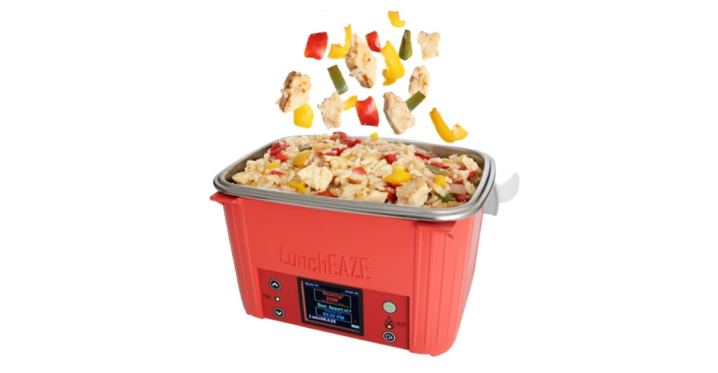 The LunchEAZE Self-Heating lunchbox doesn't need to be plugged in for power. You need to charge it of course, but then you can go where there's no power source. You can have your lunch free from the confines of a house or car, free from the grid or fossil fuels.